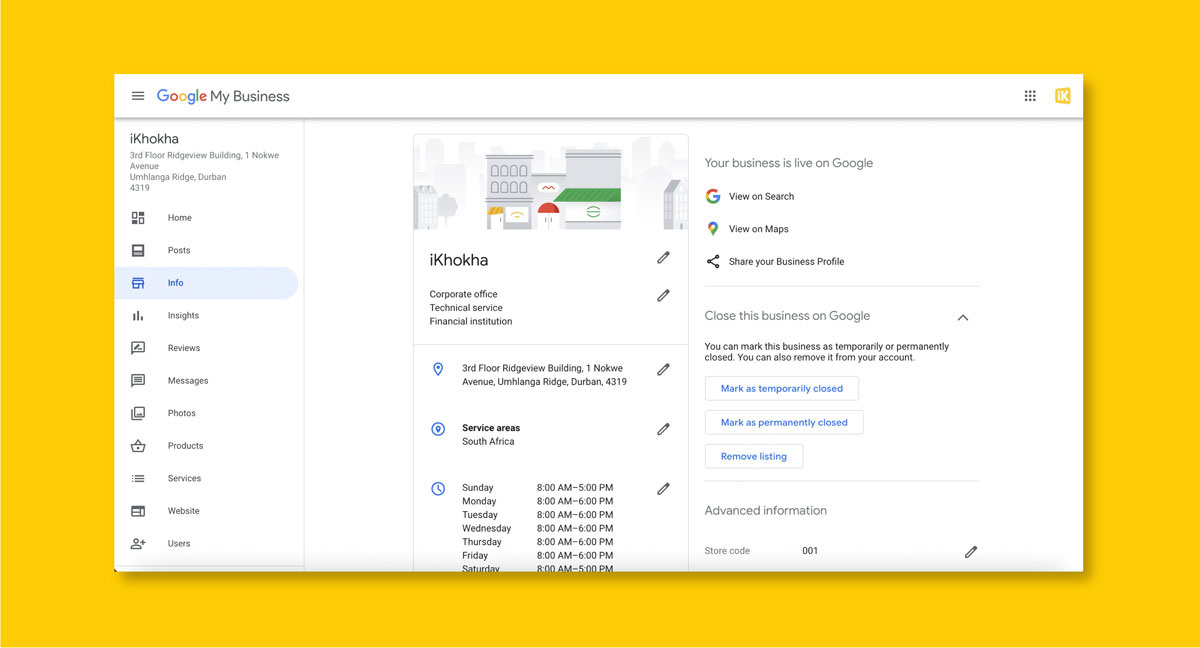Google My Business Info Page